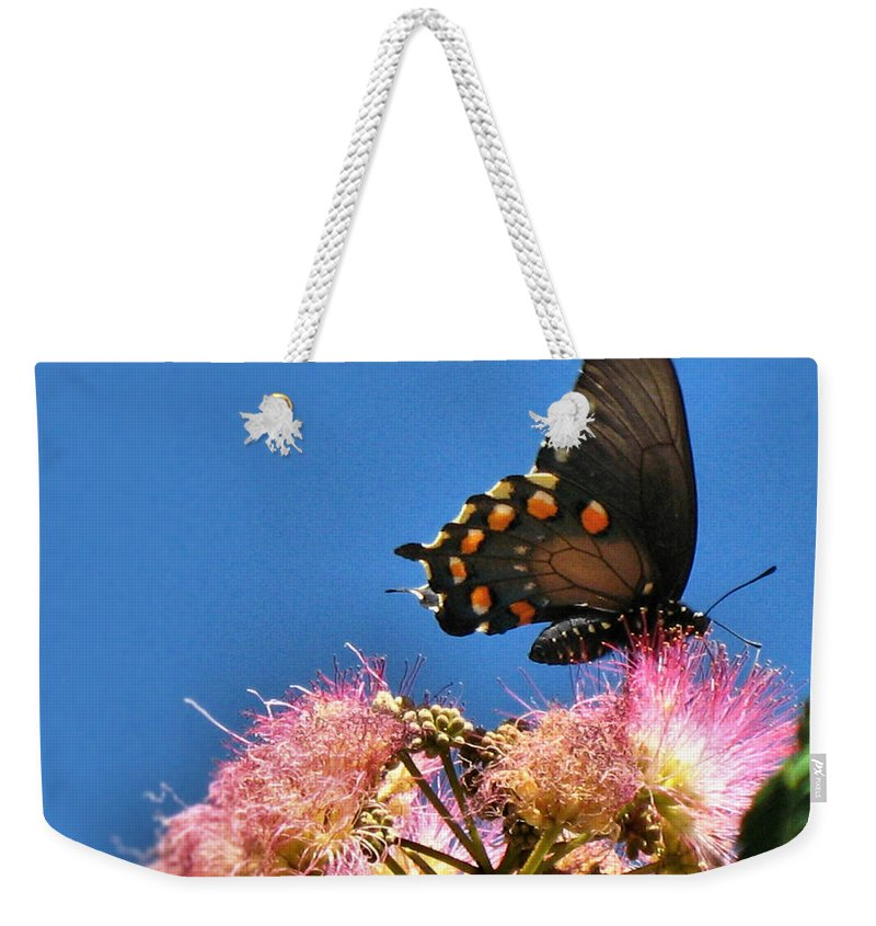 Butterfly Weekender Tote Bag featuring the photograph Butterfly On Mimosa Blossom by Joyce Dickens