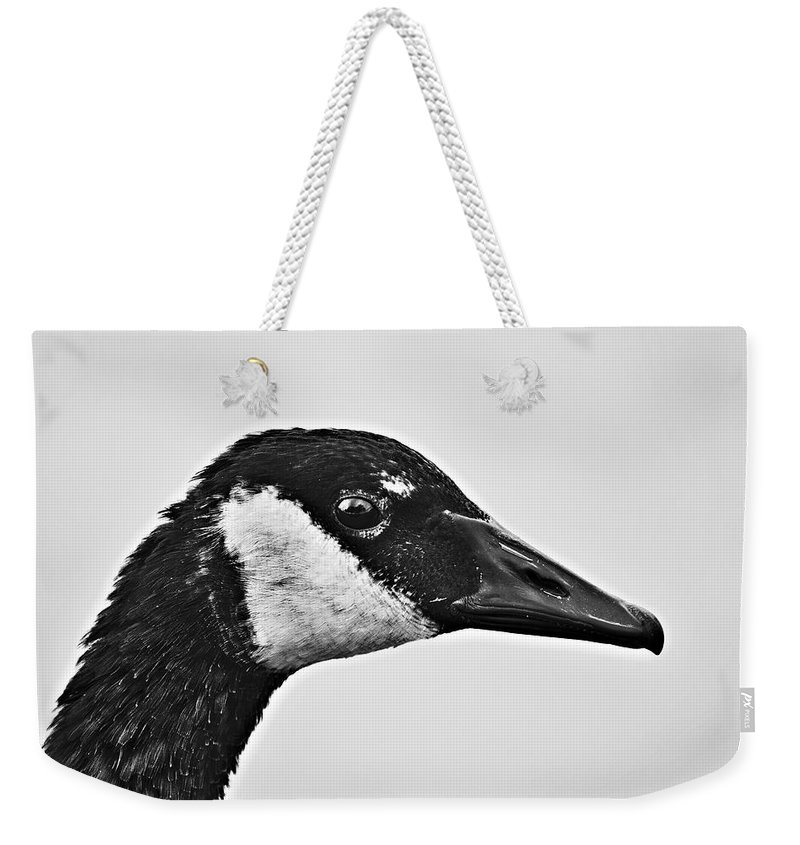 B&w Portrait-canadian Goose Weekender Tote Bag featuring the photograph Bw Portrait-canadian Goose by Douglas Barnard