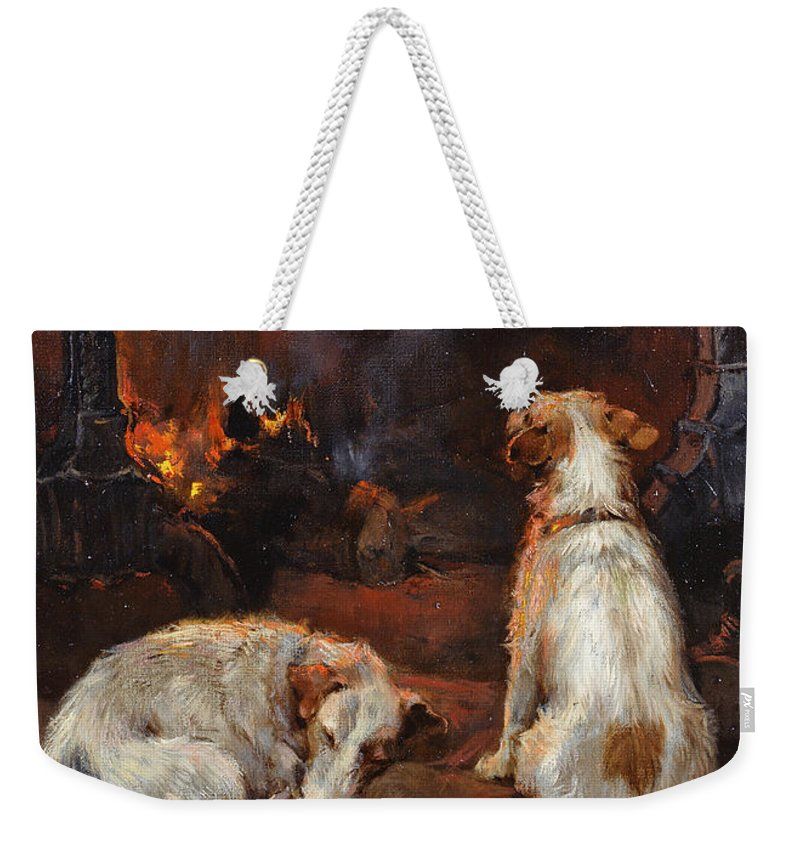By The Hearth Weekender Tote Bag featuring the painting By The Hearth by Philip Eustace Stretton
