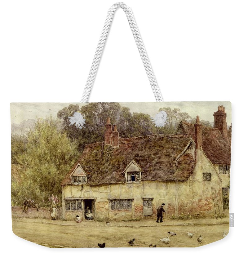 By The Old Cottage Weekender Tote Bag featuring the painting By The Old Cottage by Helen Allingham