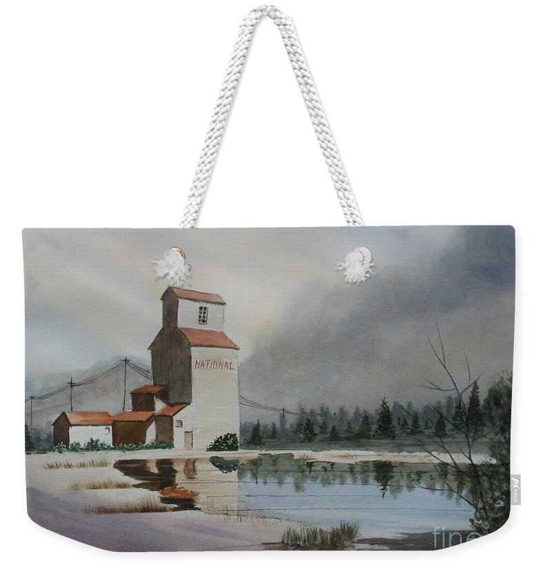 Grain Elevator Weekender Tote Bag featuring the painting Bygone Days by Mohamed Hirji