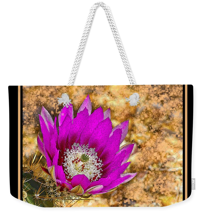 Flower Weekender Tote Bag featuring the photograph Cactus Flower 4 by Larry White