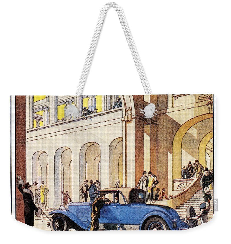 1927 Weekender Tote Bag featuring the photograph Cadillac Ad, 1927 by Granger