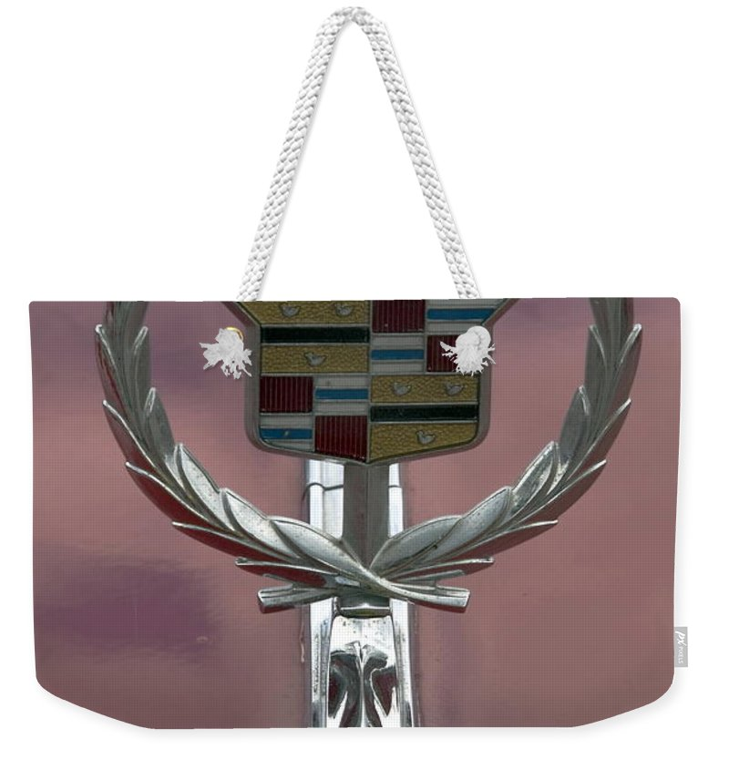 Cadillac Hood Ornament Weekender Tote Bag featuring the photograph Cadillac Hood Ornament by Sally Weigand