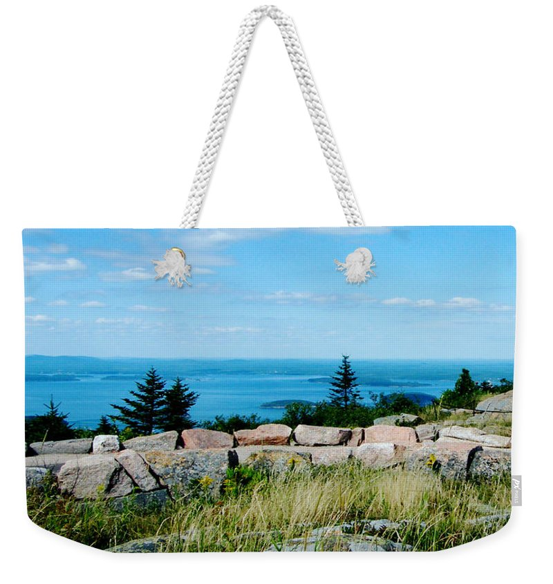 Maine Weekender Tote Bag featuring the photograph Cadillac Mountain Summit View by Lizi Beard-Ward