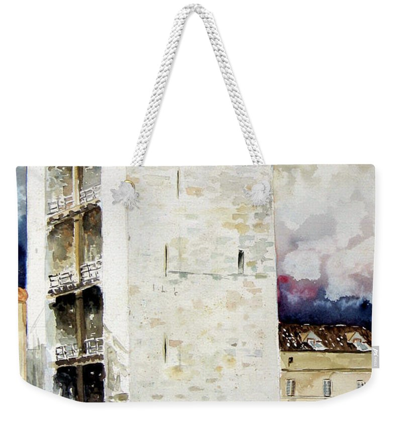 Cagliari Weekender Tote Bag featuring the painting Cagliari - Torre Dell'elefante by Giovanni Marco Sassu
