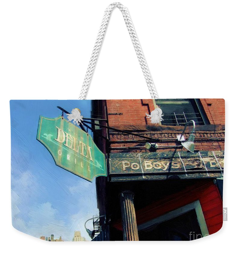 New York City Weekender Tote Bag featuring the painting Cajun Corner by RC DeWinter