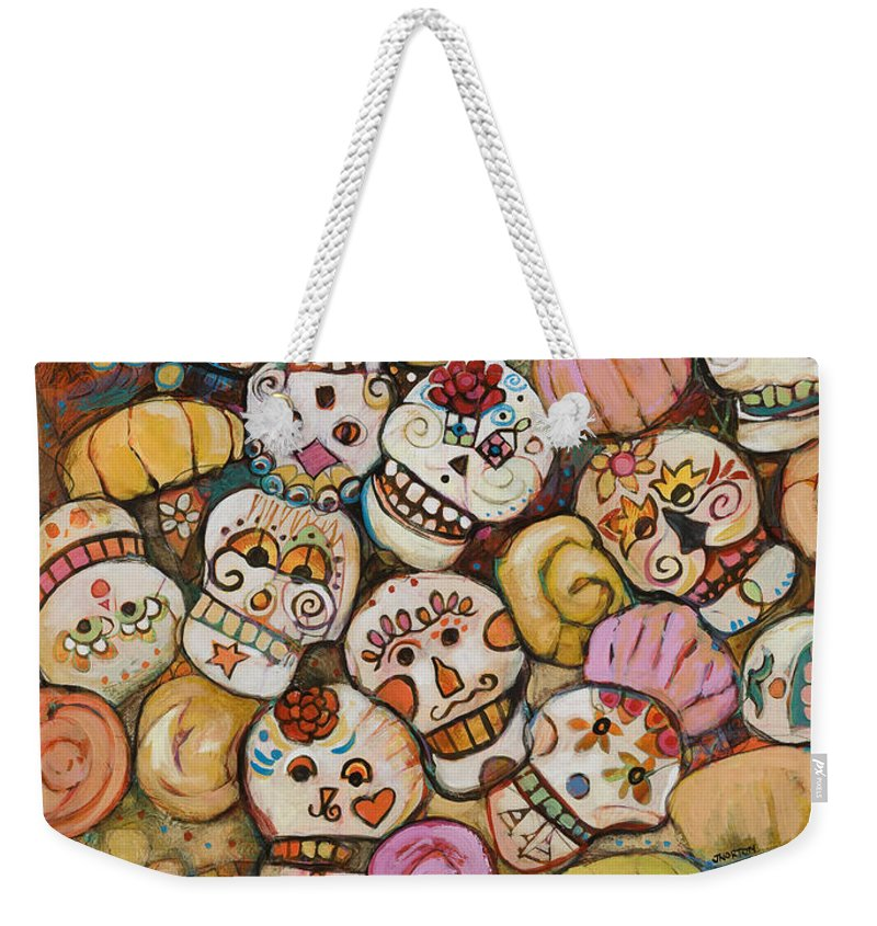 Jen Norton Weekender Tote Bag featuring the painting Calaveras Azucar Y Pan  Dulce by Jen Norton a60ba0e2427ef