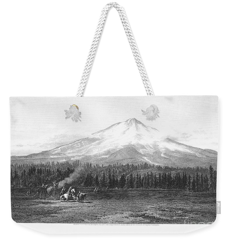 1873 Weekender Tote Bag featuring the photograph California: Mount Shasta by Granger