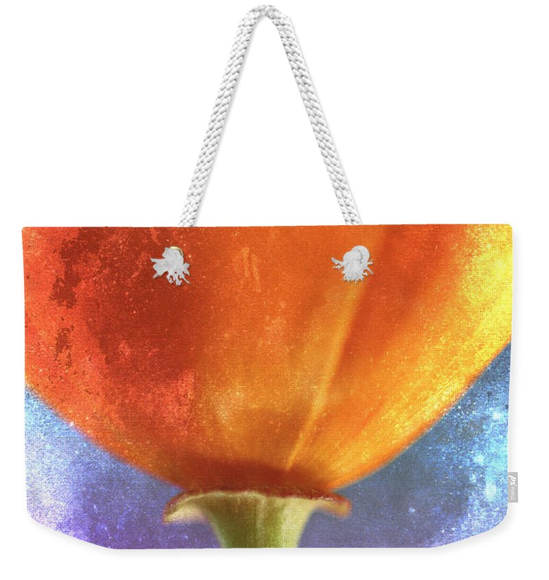 Flower Weekender Tote Bag featuring the photograph California Poppy On Pink And Blue by Carol Leigh
