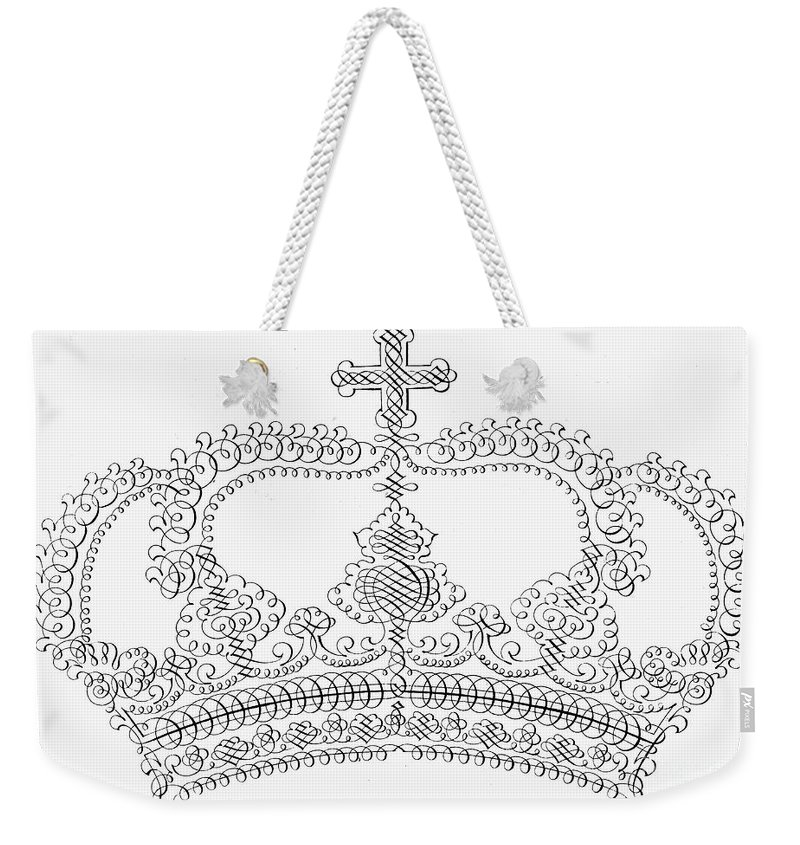 18th Century Weekender Tote Bag featuring the photograph Calligraphy Crown by Granger