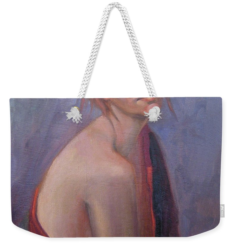 Figure Art Weekender Tote Bag featuring the painting Calm Contentment by Lilibeth Andre
