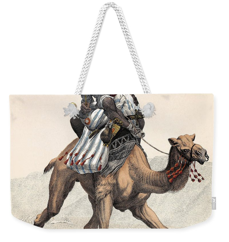 1853 Weekender Tote Bag featuring the photograph Camel & Rider by Granger