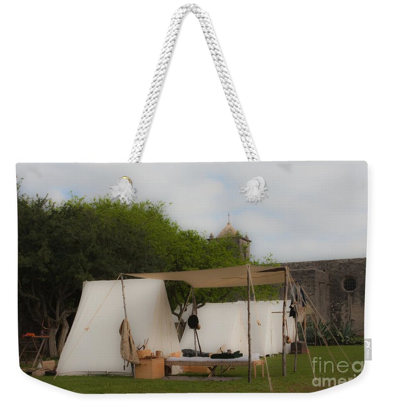 Reenactment Weekender Tote Bag featuring the mixed media Camp At Goliad by Kim Henderson