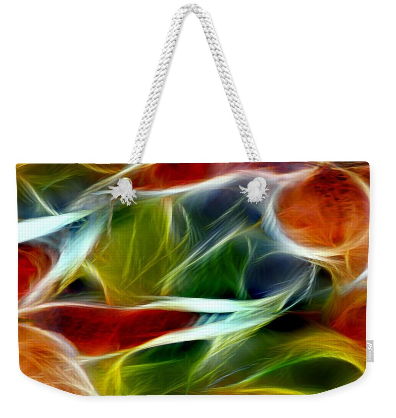 Candy Lily Weekender Tote Bag featuring the digital art Candy Lily Fractal Panel 2 by Peter Piatt