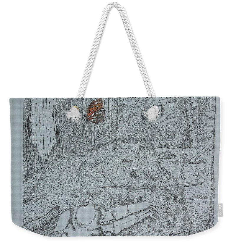 Nature Weekender Tote Bag featuring the drawing Canine Skull And Butterfly by Daniel Reed