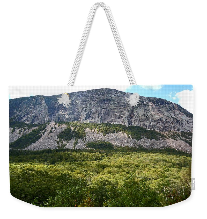 Franconia Notch Parkway Weekender Tote Bag featuring the photograph Cannon Cliff From Boise Rock New Hampshire by Nancy Griswold