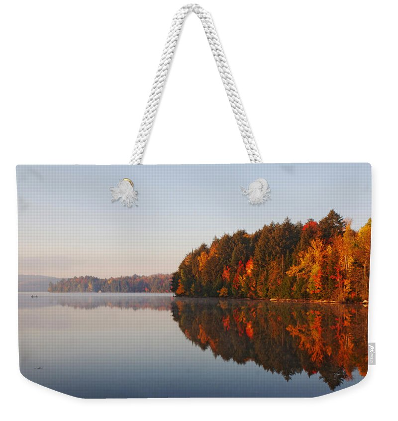 Canada Weekender Tote Bag featuring the digital art Canoe Lake Algonquin by Pat Speirs