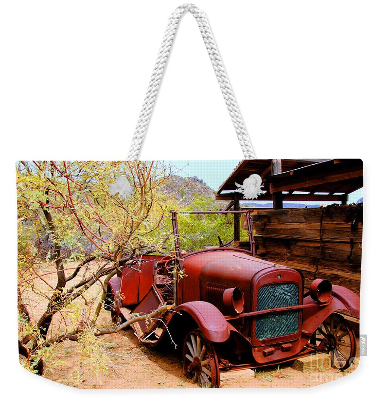 Canyon Creek Ranch Weekender Tote Bag featuring the photograph Canyon Creek Ranch Transportation by Tap On Photo