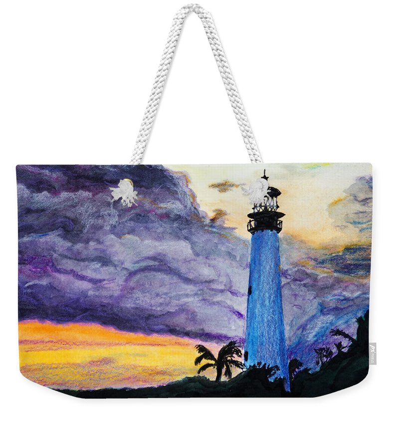 Cape Florida Weekender Tote Bag featuring the painting Cape Florida Lighthouse by Roger Wedegis