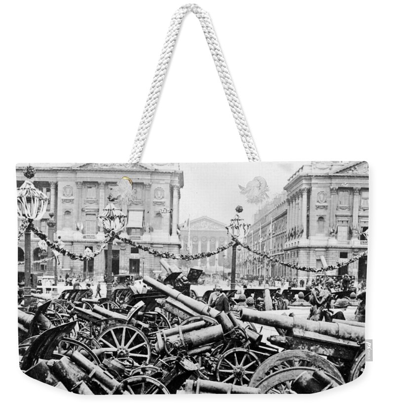 German Weekender Tote Bag featuring the photograph Captured German Guns At Palace De La Concorde In Paris - France by International Images