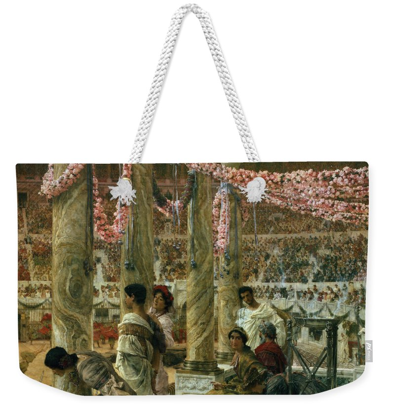 Caracalla Weekender Tote Bag featuring the painting Caracalla And Geta by Sir Lawrence Alma-Tadema