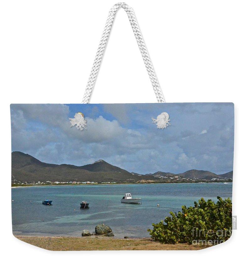 St Maarten Weekender Tote Bag featuring the photograph Caribbean Cove by Carol Bradley