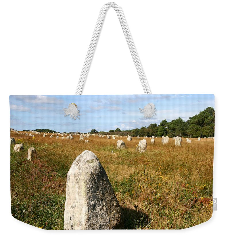 Carnac Weekender Tote Bag featuring the photograph Carnac Standing Stones by Diana Haronis
