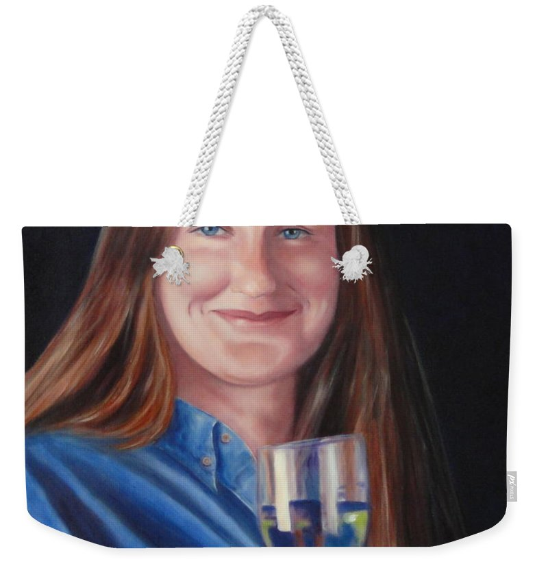 Portrait Weekender Tote Bag featuring the painting Carol Ann Thorup by Shannon Grissom