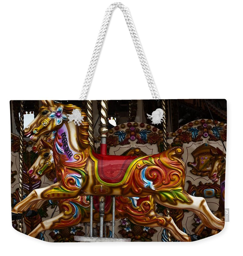 Carousel Horses Weekender Tote Bag featuring the photograph Carousel Horses by Steve Purnell