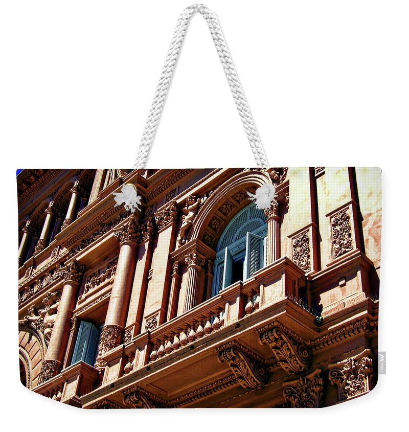 Architecture Weekender Tote Bag featuring the photograph Casa Rosada by Joan Minchak