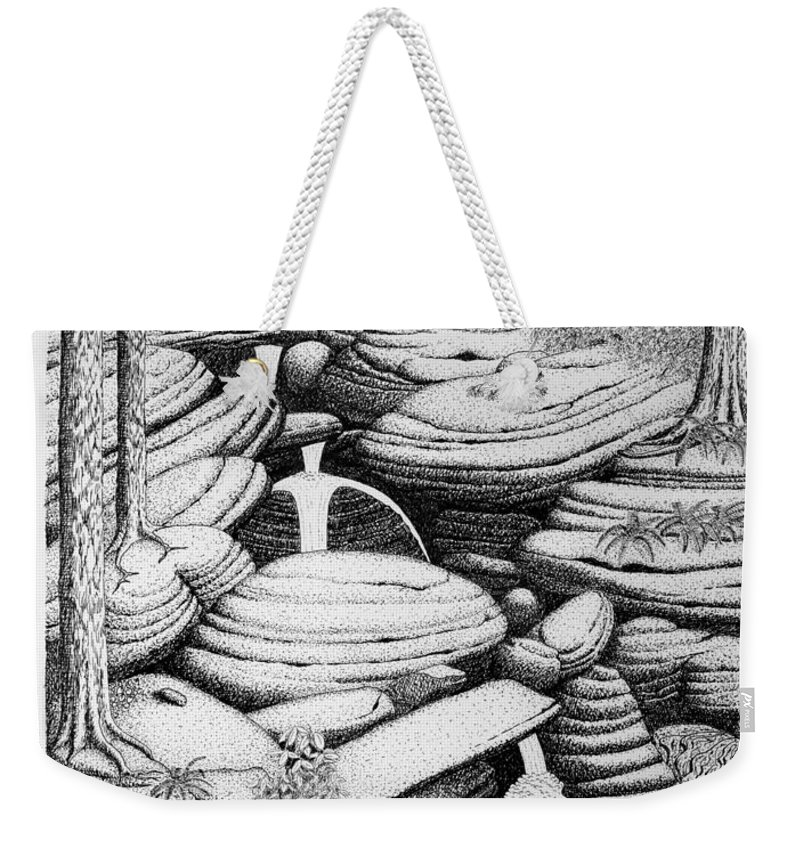 Nature Weekender Tote Bag featuring the drawing Cascade In Boulders by Daniel Reed