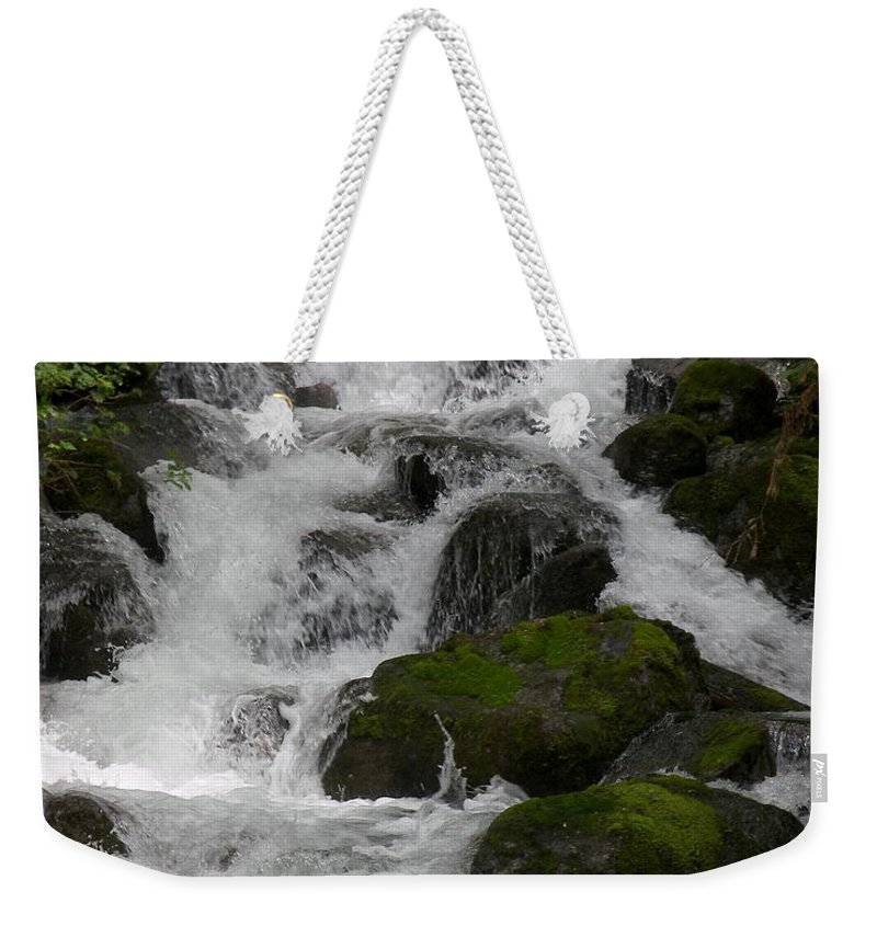 Mossy Rocks With Water Fall Weekender Tote Bag featuring the photograph Cascades Below by Christy Leigh