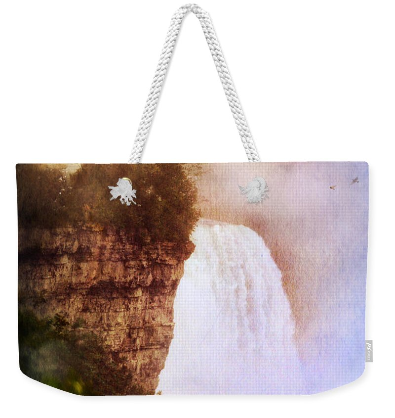 Water Weekender Tote Bag featuring the photograph Castle At The Edge Of The Falls by Jill Battaglia