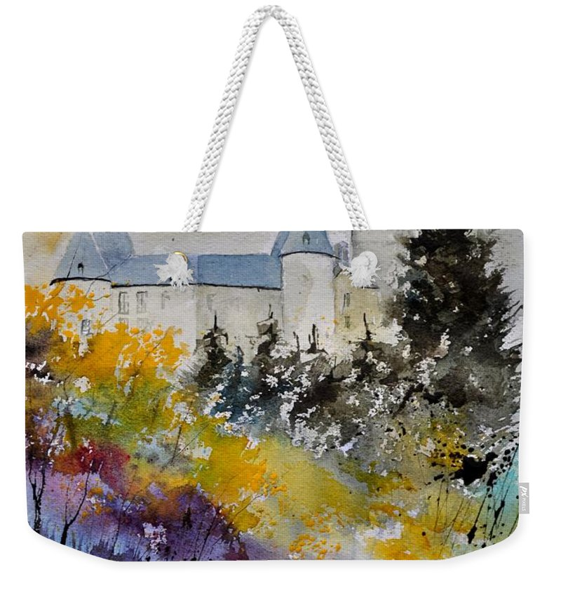Landscape Weekender Tote Bag featuring the painting Castle Of Veves Belgium by Pol Ledent