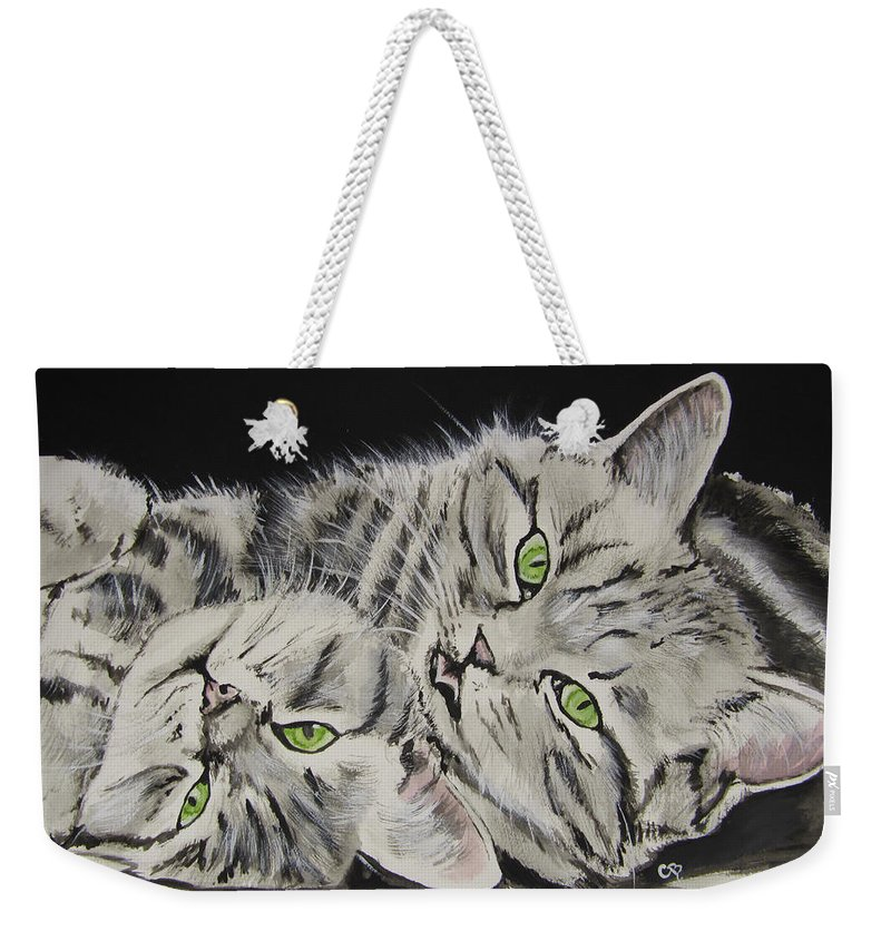 Cat Watercolor Weekender Tote Bag featuring the painting Cat Friends by Carol Blackhurst