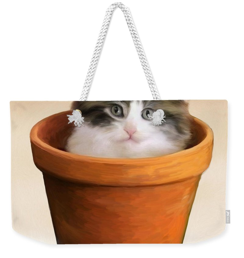 Cat Weekender Tote Bag featuring the painting Cat In A Pot by Snake Jagger