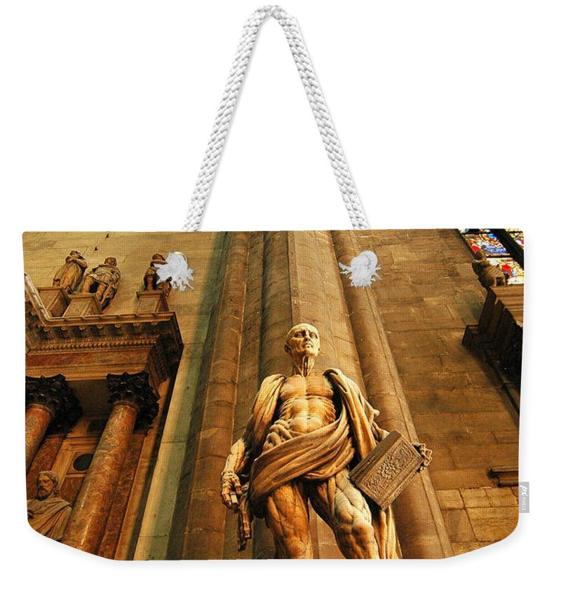 Cathedral Weekender Tote Bag featuring the photograph Cathedral Statue Milan Italy by Mike Nellums