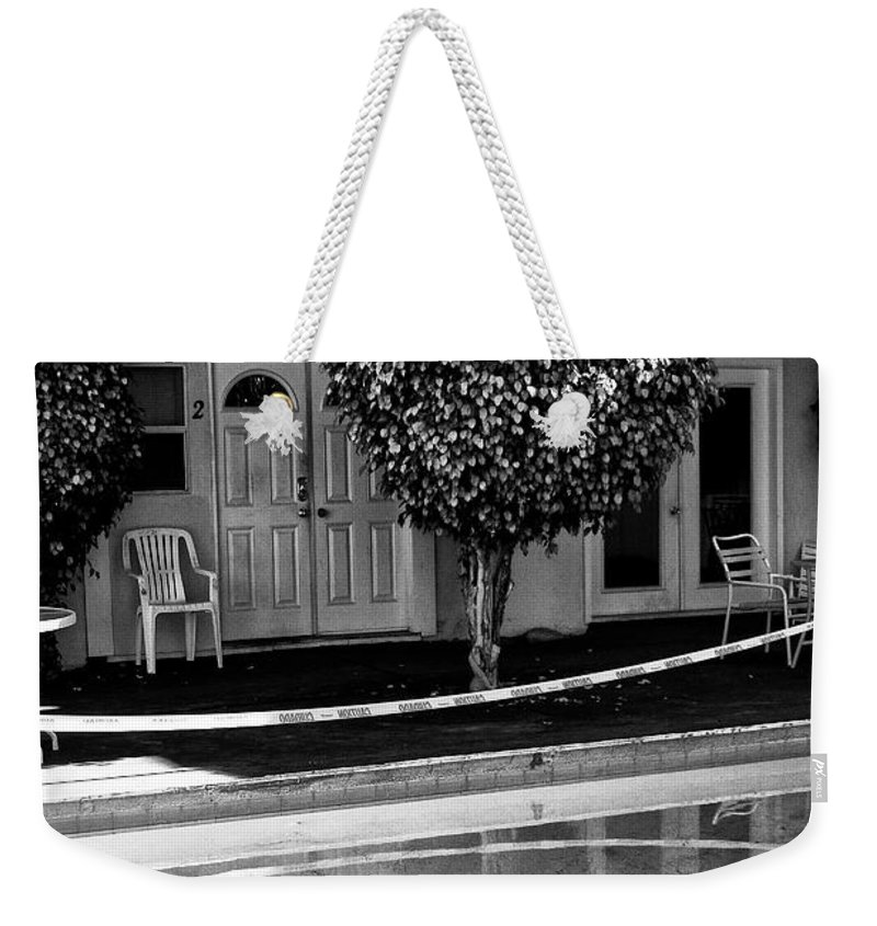 Pool Weekender Tote Bag featuring the photograph Caution Palm Springs by William Dey