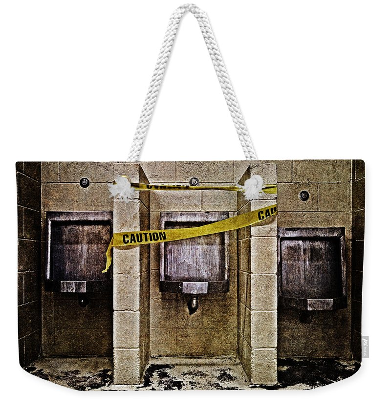 Abandoned Weekender Tote Bag featuring the photograph Caution by Skip Nall