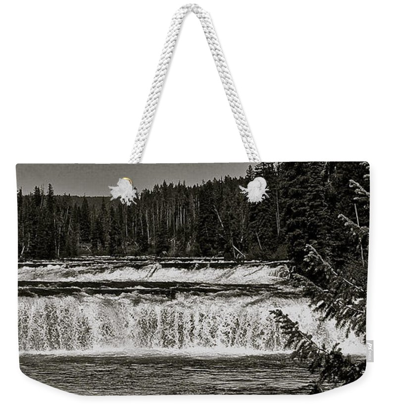 Yellowstone National Park Weekender Tote Bag featuring the photograph Cave Falls by Eric Tressler