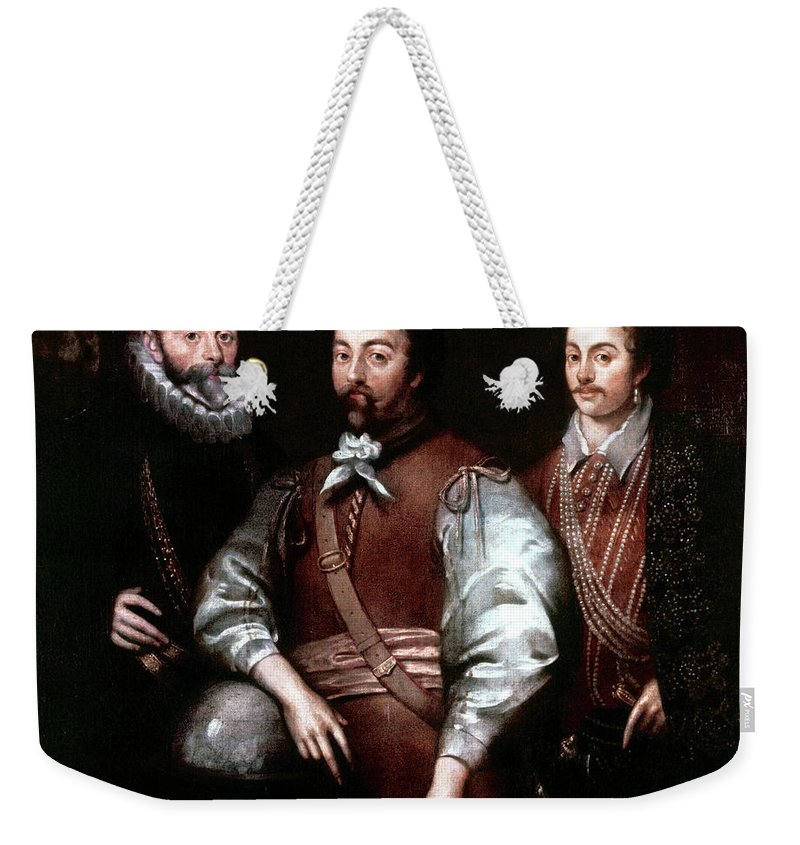 16th Century Weekender Tote Bag featuring the painting Cavendish Drake And Hawkins by Granger