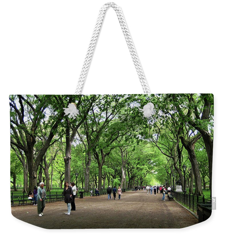 Central Park Weekender Tote Bag featuring the photograph Central Park Arbor Walk Spring by Lorraine Devon Wilke