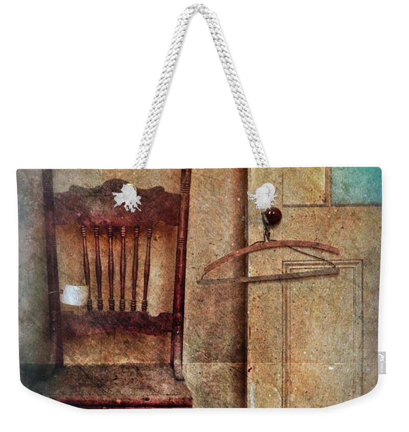 Door Weekender Tote Bag featuring the photograph Chair By Open Door by Jill Battaglia