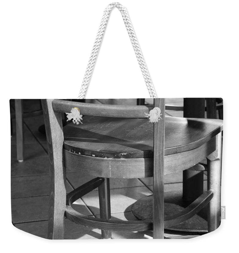 Black And White Weekender Tote Bag featuring the photograph Chair by Rob Hans