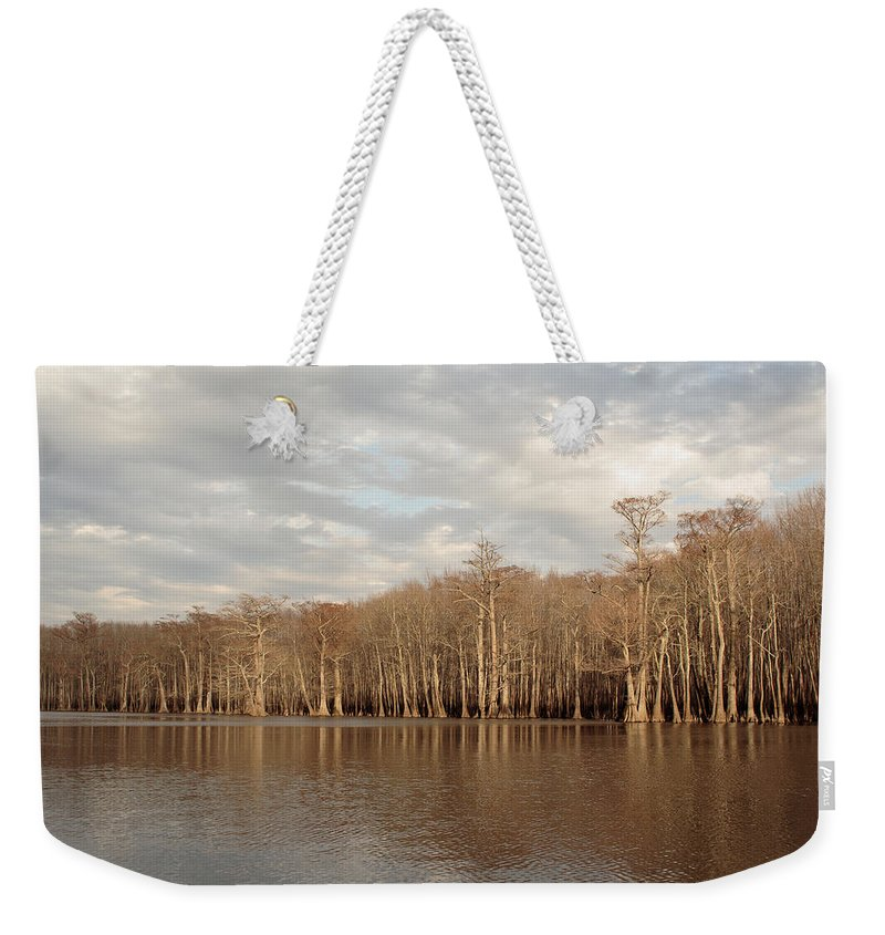 Baldcypress Weekender Tote Bag featuring the photograph Champion Lake by Daniel Reed