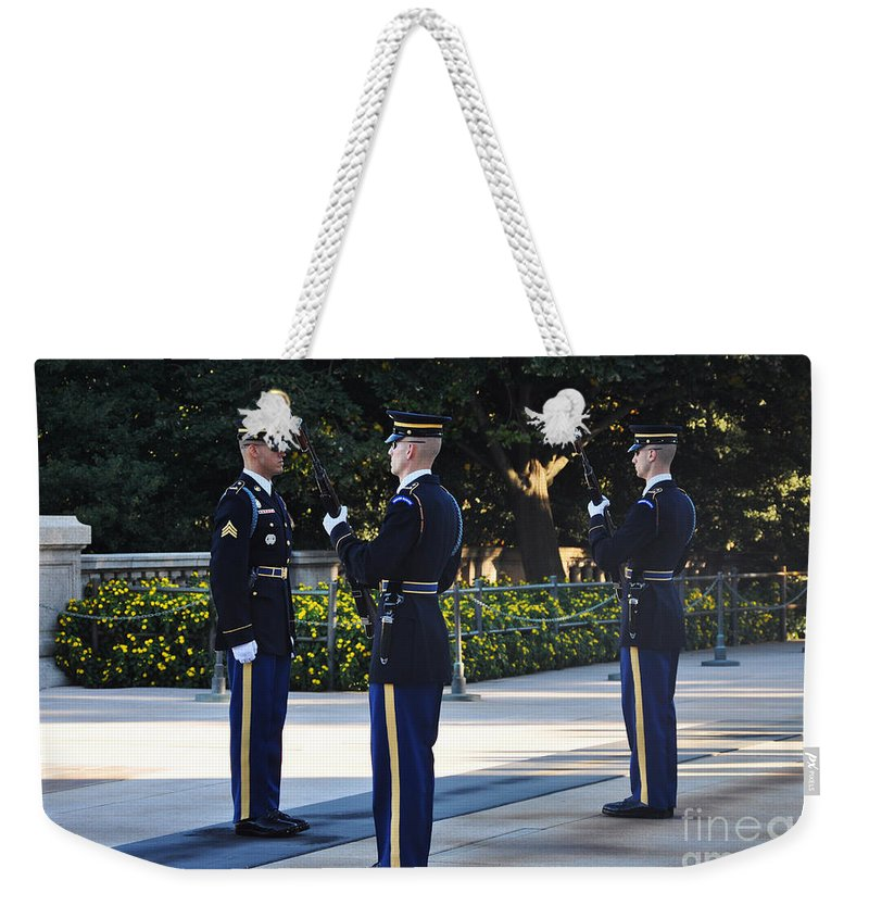 Tomb Of The Unknowns At Arlington National Cemetery Weekender Tote Bag featuring the photograph Changing Of The Guards by Brittany Horton