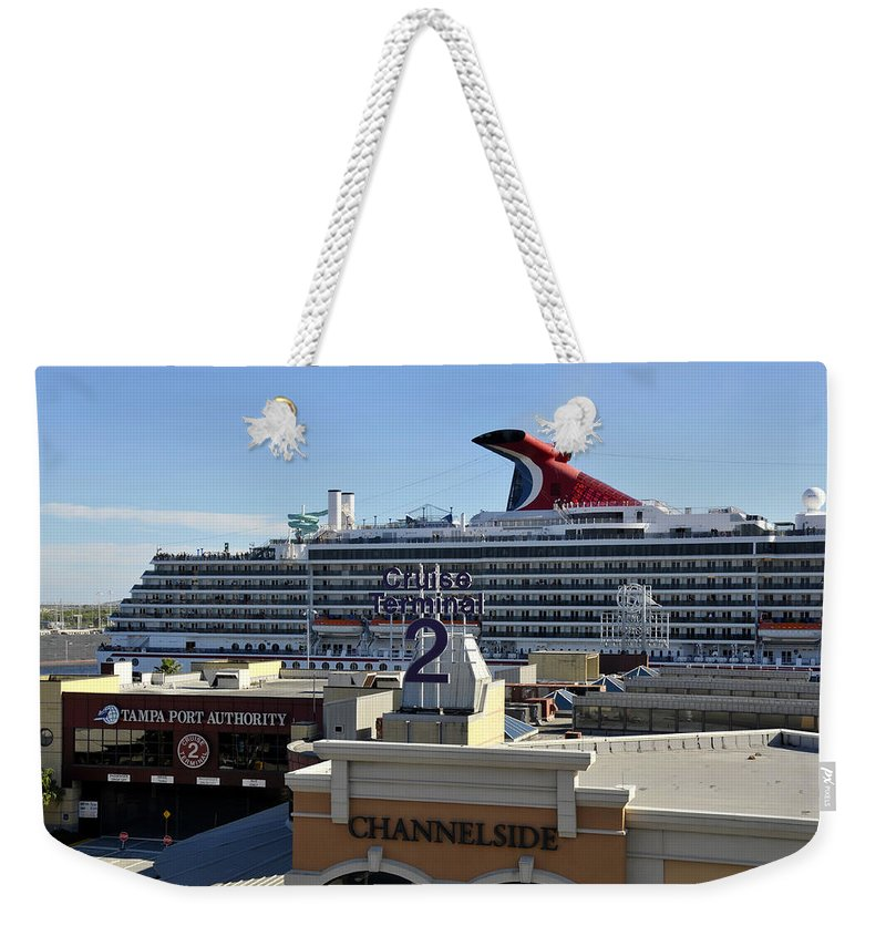 Cruise Ship Weekender Tote Bag featuring the photograph Channelside Tampa by David Lee Thompson