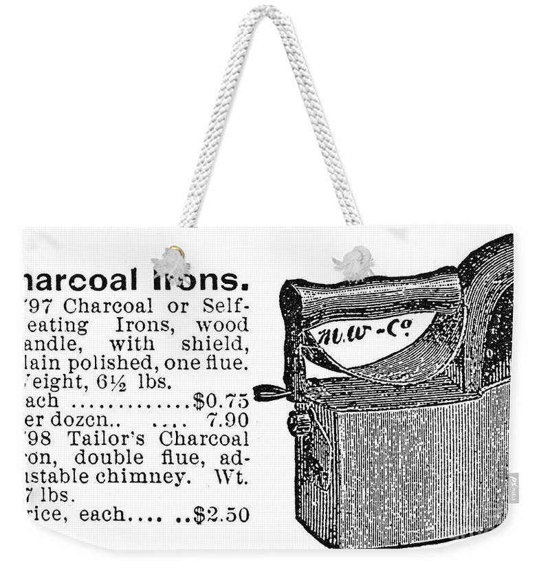 -domestic- Weekender Tote Bag featuring the photograph Charcoal Iron, 1895 by Granger