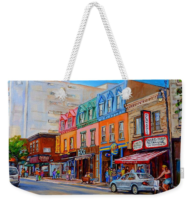 Montreal Weekender Tote Bag featuring the painting Charcuterie Hebraique Schwartz by Carole Spandau